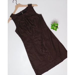 WHBM ~ Sz 4 Espresso Embroidered Shift Dress Brown